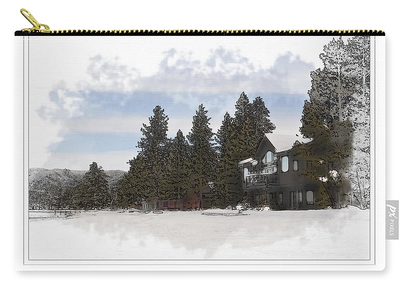 Lake Carry-all Pouch featuring the photograph Cabin In Snow With Mountains In Background by Brandon Bourdages