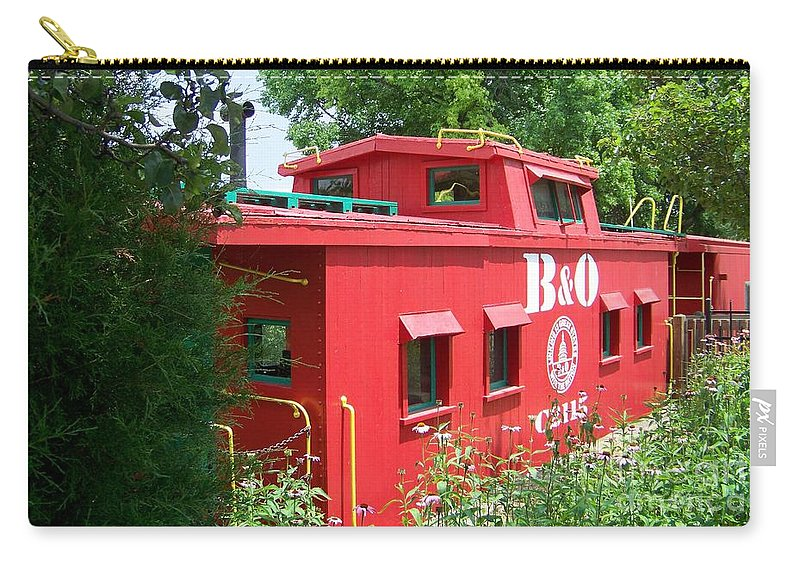 Caboose Carry-all Pouch featuring the photograph Caboose In The Trees by Charles Robinson