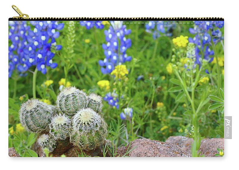 Cactus Carry-all Pouch featuring the photograph Cactus And Bluebonnets 2am-28694 by Andrew McInnes
