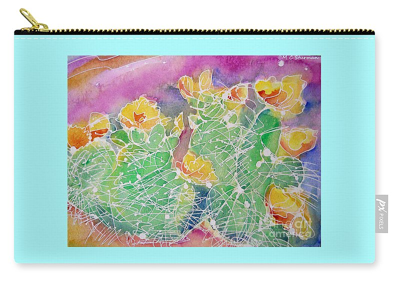Cactus Carry-all Pouch featuring the mixed media Cactus Color by M c Sturman
