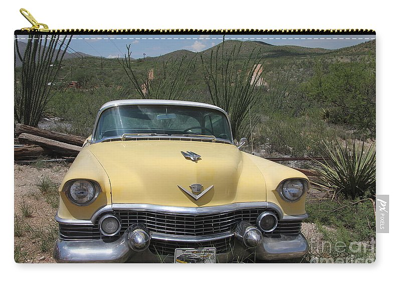 Caddy Carry-all Pouch featuring the photograph Caddy In The Desert by Diane Greco-Lesser
