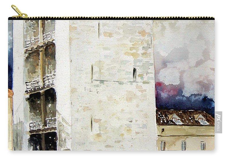 Cagliari Carry-all Pouch featuring the painting Cagliari - Torre Dell'elefante by Giovanni Marco Sassu