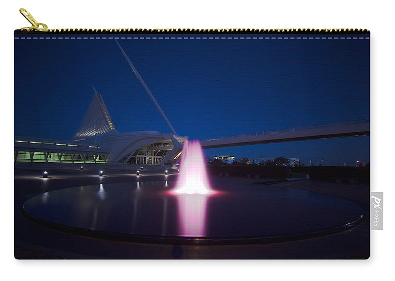 Water Fountain Photographs Carry-all Pouch featuring the photograph Calatrava's Pink Fountain by Jonah Anderson