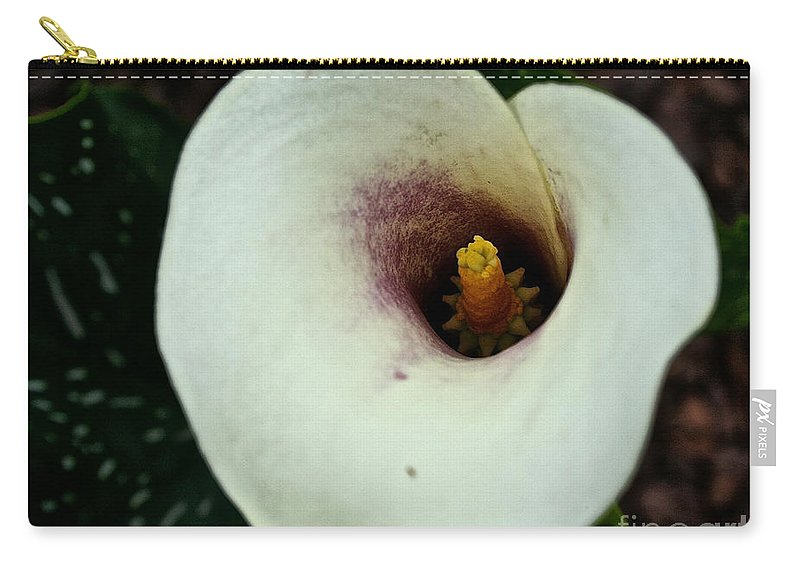 Floral Carry-all Pouch featuring the photograph Calla Lily Candle Center by Susan Herber