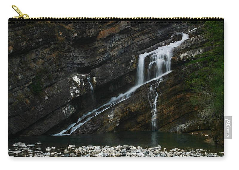 Cameron Falls Carry-all Pouch featuring the photograph Cameron Falls Waterton Lakes National Park by Benjamin Dahl