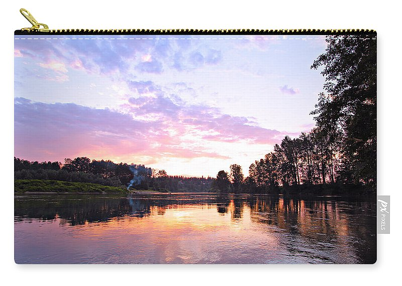 Landscape Carry-all Pouch featuring the photograph Camp Fire Sunset by Paul Fell