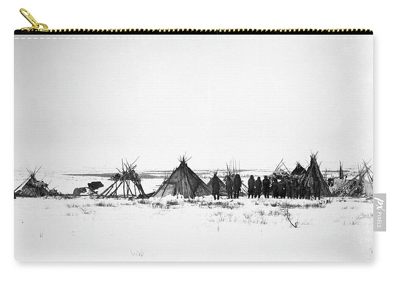 1882 Carry-all Pouch featuring the photograph Canada - Naskapi Camp 1882 by Granger
