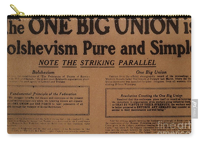1919 Carry-all Pouch featuring the photograph Canada: One Big Union, 1919 by Granger