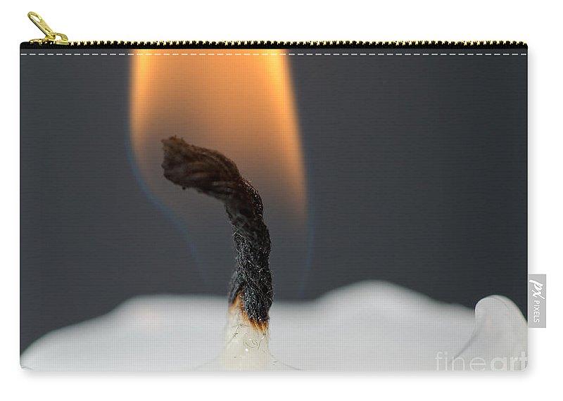 Candle Carry-all Pouch featuring the photograph Candle With Fire by Mats Silvan