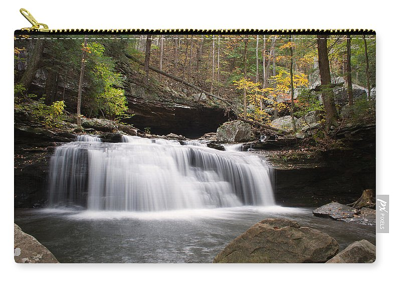 Waterfall Carry-all Pouch featuring the photograph Canyon Waterfall by David Troxel
