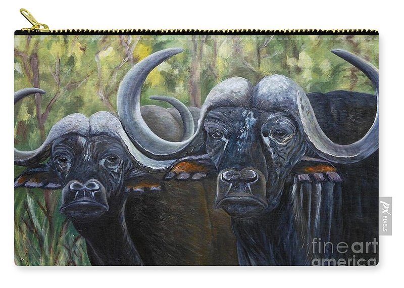 Buffalo Carry-all Pouch featuring the painting Cape Buffalo 2 by Caroline Street