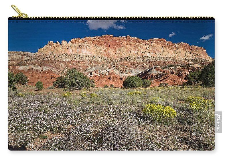 Desert Carry-all Pouch featuring the photograph Capitol Reef Autumn Wildflowers by Greg Nyquist