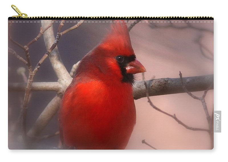 Cardinal Carry-all Pouch featuring the photograph Cardinal - Unafraid by Travis Truelove