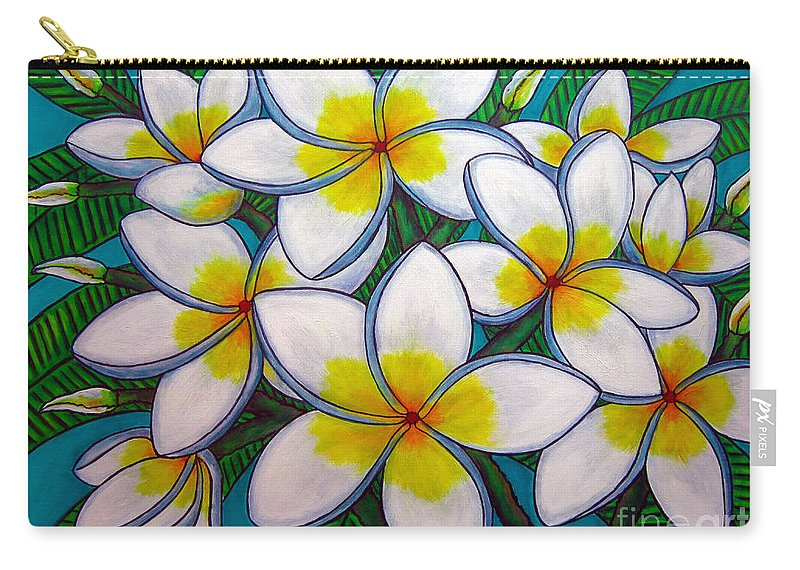Frangipani Carry-all Pouch featuring the painting Caribbean Gems by Lisa Lorenz