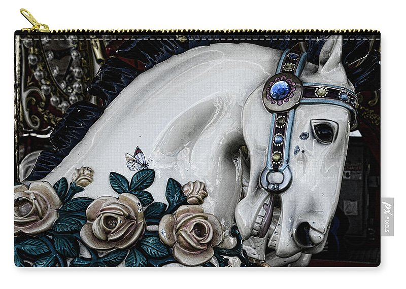 Dark Horse Carry-all Pouch featuring the photograph Carousel Horse - 8 by Paul Ward