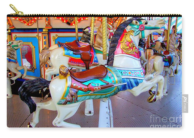 Carousel Horse Carry-all Pouch featuring the photograph Carousel Horse For The Hunter by Mary Deal