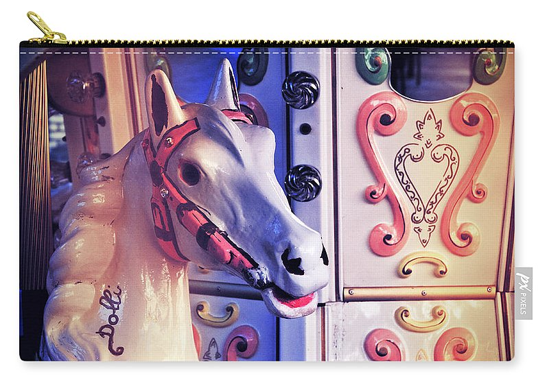 Carousel Carry-all Pouch featuring the photograph Carousel Horse by Silvia Ganora