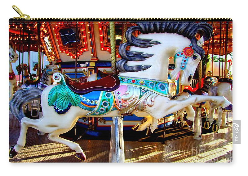 Carousel Horse Carry-all Pouch featuring the photograph Carousel Horse With Leaves by Mary Deal