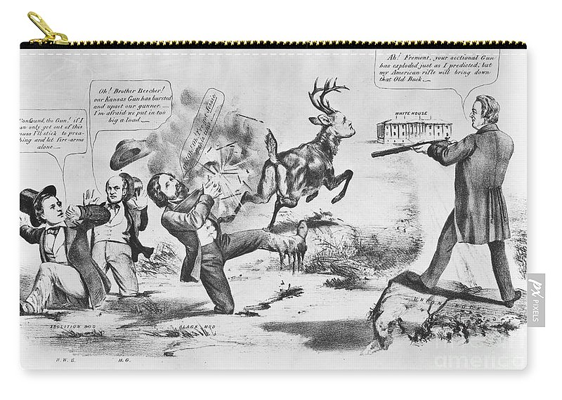 1856 Carry-all Pouch featuring the photograph Cartoon: Election Of 1856 by Granger