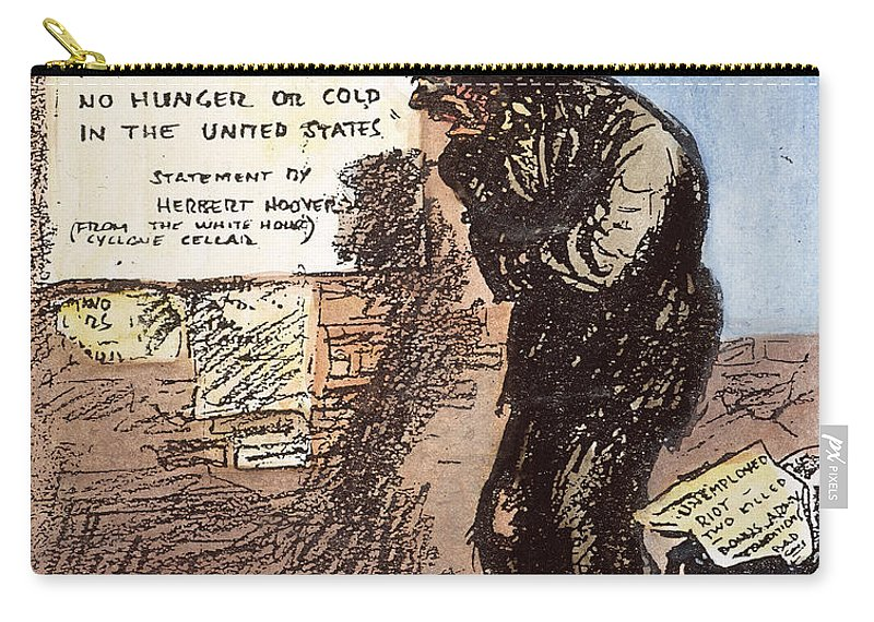 1932 Carry-all Pouch featuring the photograph Cartoon: Great Depression by Granger