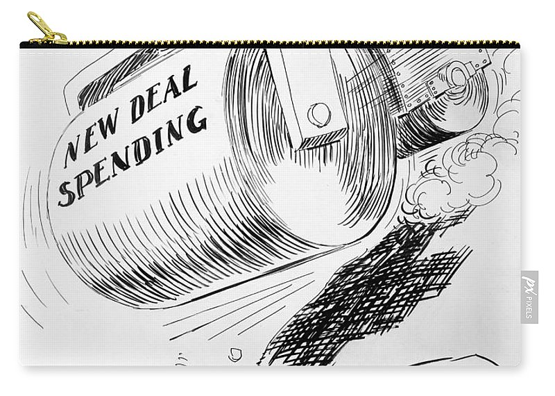 1936 Carry-all Pouch featuring the photograph Cartoon: New Deal, 1936 by Granger