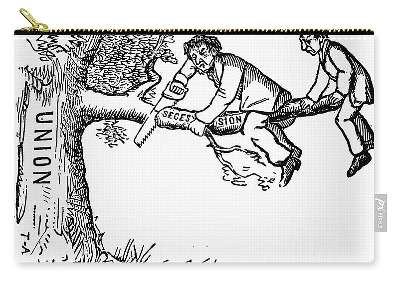 1861 Carry-all Pouch featuring the photograph Cartoon: Secession, 1861 by Granger