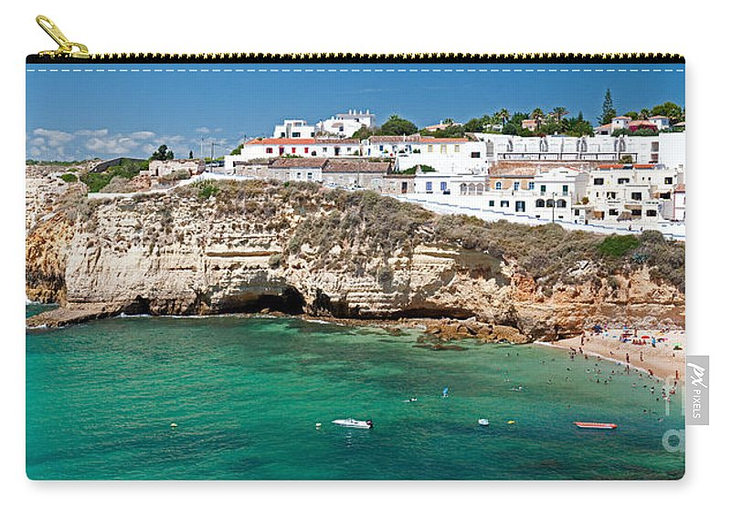 Seaside Carry-all Pouch featuring the photograph Carvoeiro Panorama by Jim Chamberlain