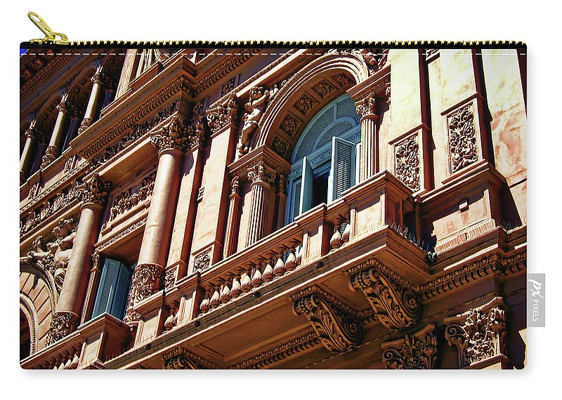 Architecture Carry-all Pouch featuring the photograph Casa Rosada by Joan Minchak