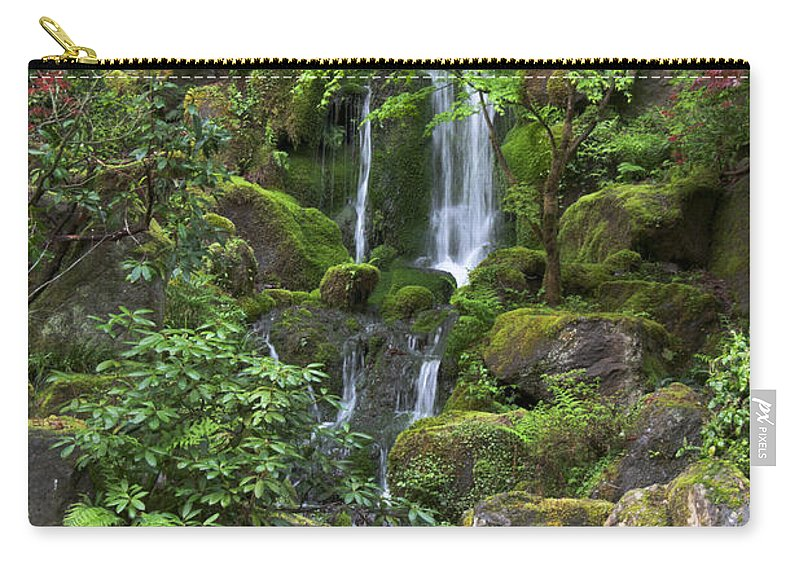 Green Carry-all Pouch featuring the photograph Cascading Waters by Jean Hildebrant