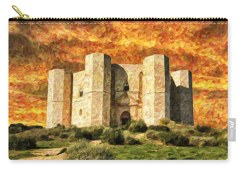 Castel Del Monte Carry-all Pouch featuring the painting Castel Del Monte by Dominic Piperata