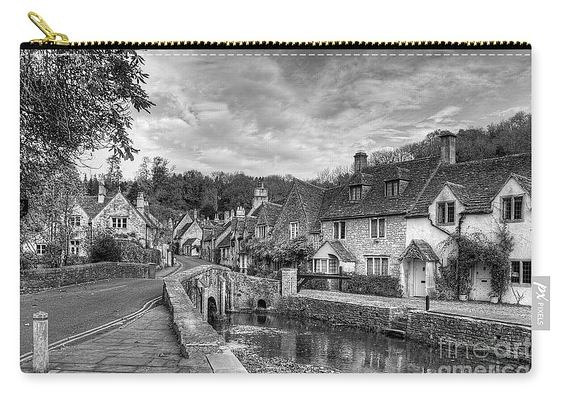 Ann Garrett Carry-all Pouch featuring the photograph Castle Combe England Monochrome by Ann Garrett