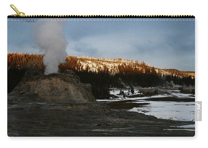 Geysers Carry-all Pouch featuring the photograph Castle Geyser Yellowstone National Park by Benjamin Dahl