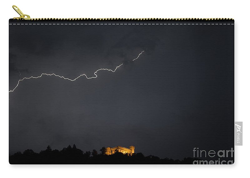 Castle Carry-all Pouch featuring the photograph Castle With Lightning by Mats Silvan