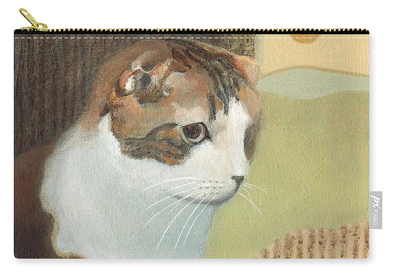 Cat Carry-all Pouch featuring the painting Cat And Sunset by Kazumi Whitemoon