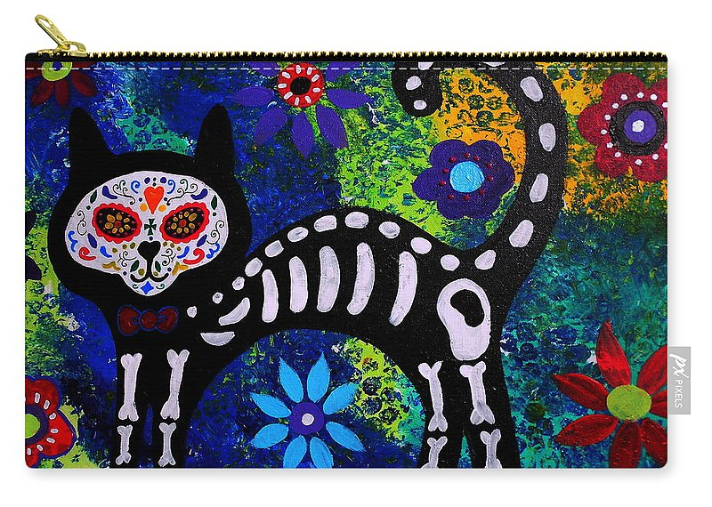 Day Of The Dead Carry-all Pouch featuring the painting Cat Day Of The Dead by Pristine Cartera Turkus