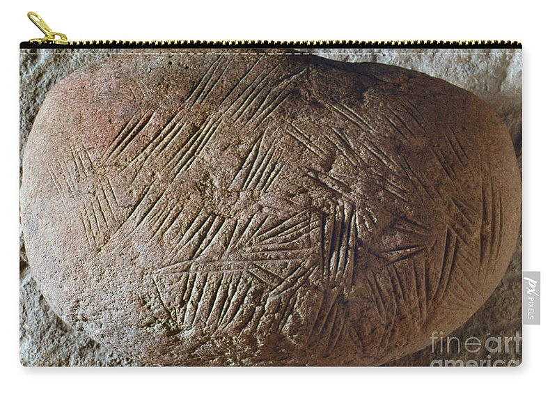 20 Carry-all Pouch featuring the photograph Cave Art: Incised Rock by Granger