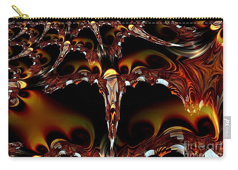 Garnet Carry-all Pouch featuring the digital art Cave Of The Garnet Skulls by Maria Urso