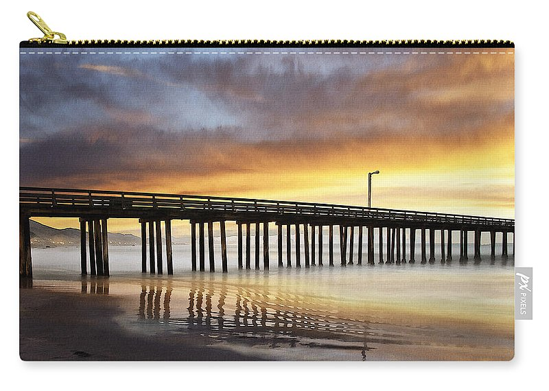 Cayucos Carry-all Pouch featuring the digital art Cayucos Pier Reflected by Sharon Foster