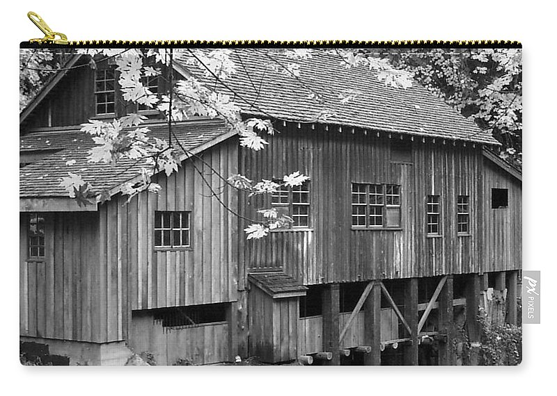 Cedar Creek Grist Mill Bw Carry-all Pouch featuring the photograph Cedar Creek Grist Mill Bw by Chalet Roome-Rigdon