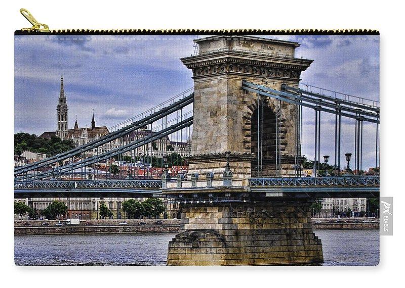 Szechenyi Chain Bridge Carry-all Pouch featuring the photograph Chain Bridge Budapest by Jon Berghoff