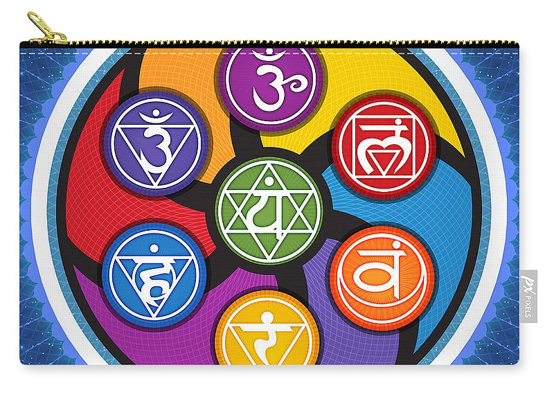 Chakra Carry-all Pouch featuring the digital art Chakra Circle by Soul Structures