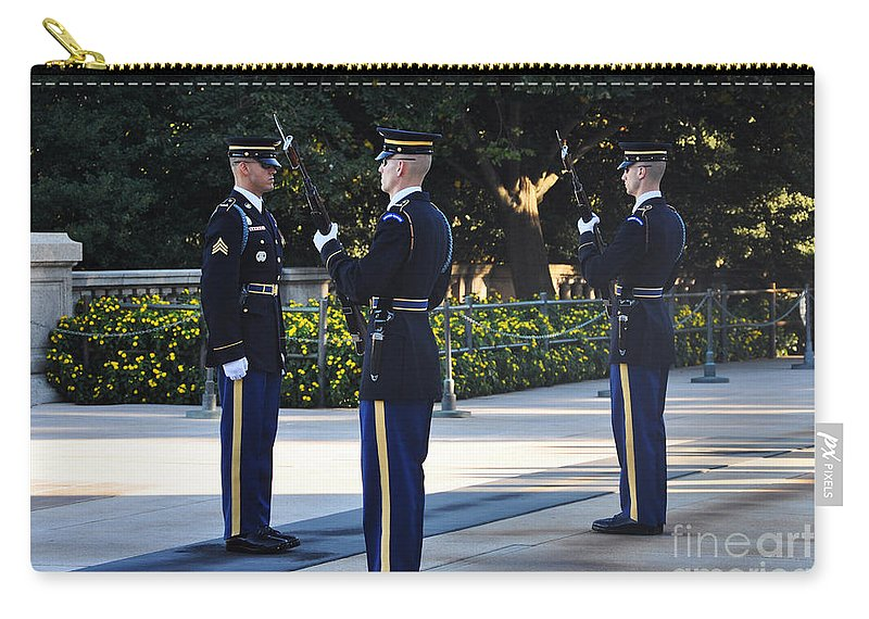 Tomb Of The Unknowns At Arlington National Cemetery Carry-all Pouch featuring the photograph Changing Of The Guards by Brittany Horton
