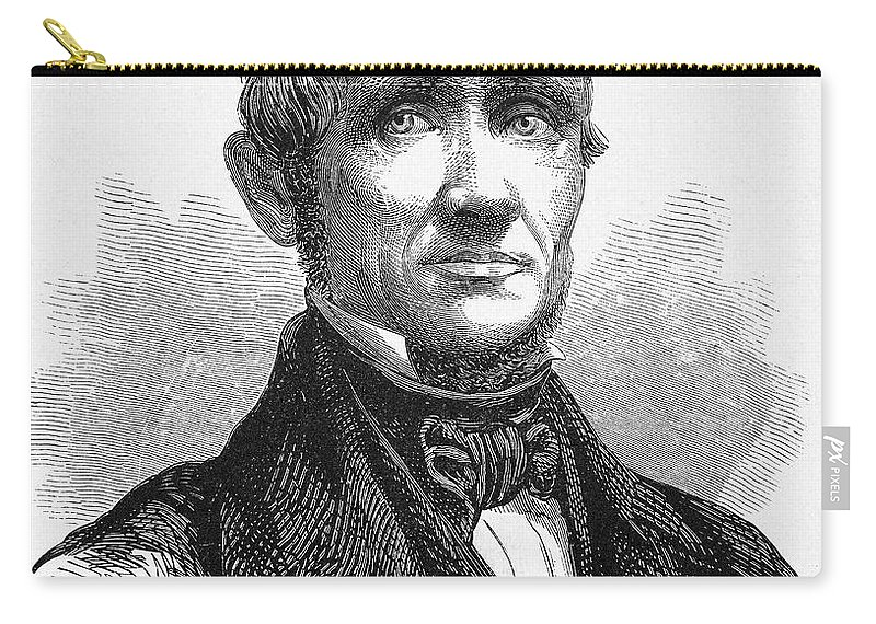 19th Century Carry-all Pouch featuring the photograph Charles Goodyear /n(1800-1860). American Inventor. Line Engraving, 19th Century by Granger