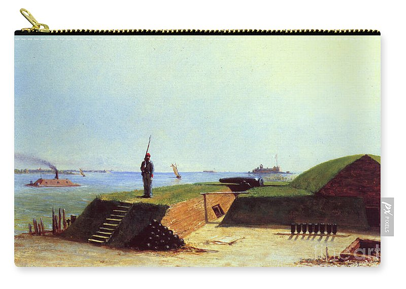 1864 Carry-all Pouch featuring the photograph Charleston Battery, 1864 by Granger