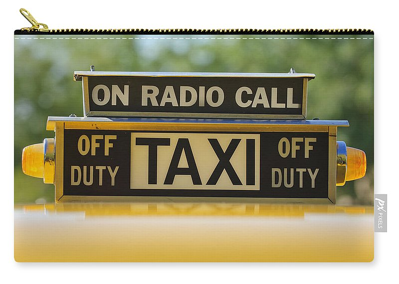 Checker Taxi Cab Carry-all Pouch featuring the photograph Checker Taxi Cab Duty Sign by Jill Reger