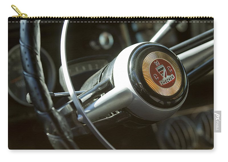 Checker Taxi Cab Carry-all Pouch featuring the photograph Checker Taxi Cab Steering Wheel by Jill Reger