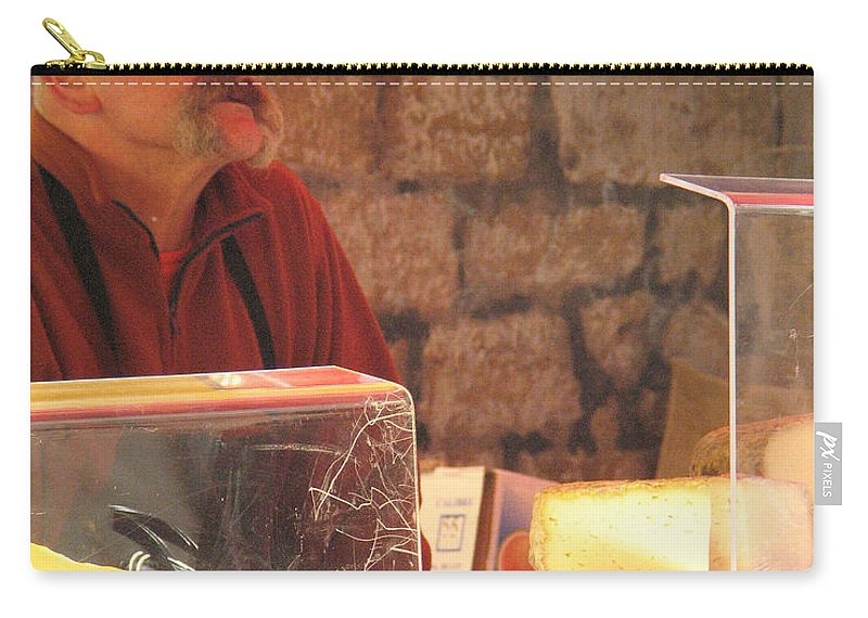 Market Carry-all Pouch featuring the photograph Cheese Seller At Sarlat Market by Greg Matchick