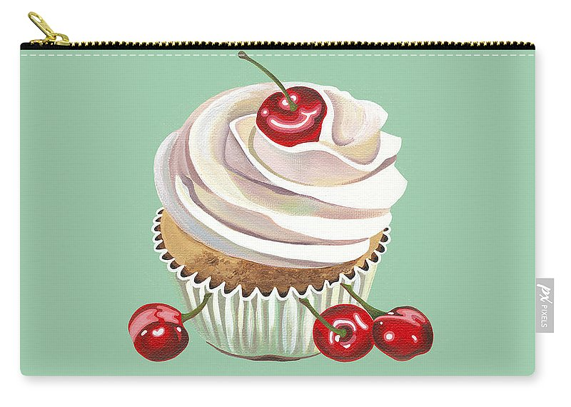 Cherry Carry-all Pouch featuring the painting Cherry Cream by Shirley Radebach