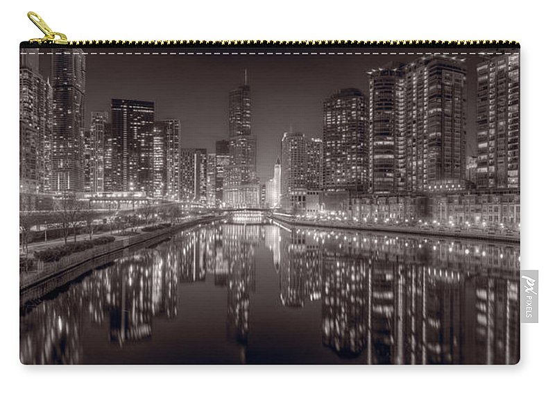 Chicago Carry-all Pouch featuring the photograph Chicago River East Bw by Steve Gadomski