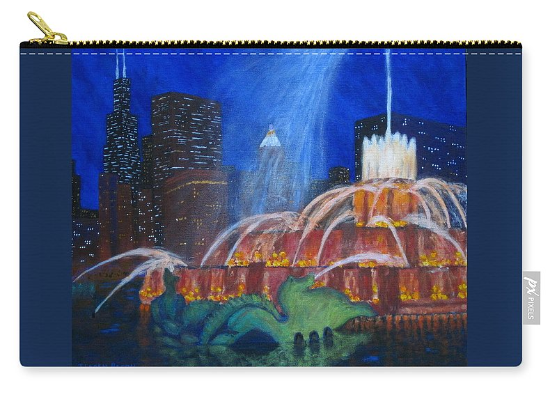 Chicago Painting Carry-all Pouch featuring the painting Chicago's Buckingham Fountain by J Loren Reedy